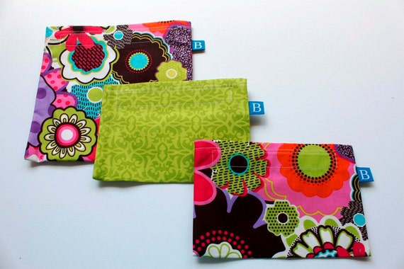 Reuseable Eco-Friendly Lunch Set of 2 Snack and 1 Sandwich Bag in Floral Fabric