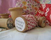 8 Yards of Candy Striped Baker's Twine on a Vintage Wooden Spool