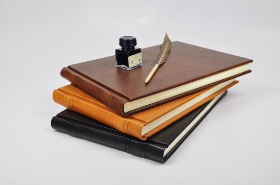 Leather Guest Book - Hand-rubbed genuine leather, embossed with your personalization