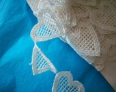 1 yard of Vintage heart lace made of cotton 1920s,more avail.