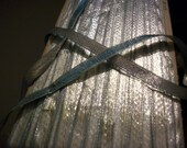Antique silver drapey metal ribbon with aqua back 1920s comes in 2 widths