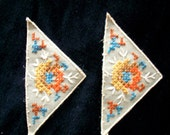 3 Colorful vintage hand embroidered applique 1920s