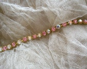 1 foot of antique rhinestones in crystal aurora borealis and ice pink