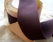 "2 yds. of 1920s vintage petersham ribbon cabernet 2"" wide,more avail."