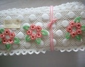 Antique little swiss cotton hand loom appliques 1930s