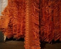 1 yard of rare victorian silk fringe in rusty tangerine