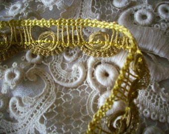 Metallic antique gold trim, old store stock yardage