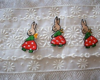 1 Antique bunny rabbit, a hand loomed applique, more avail.