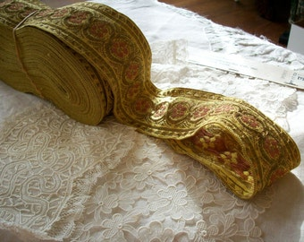 """1 yard antique gold/rose trim, 2"""",more avail."""