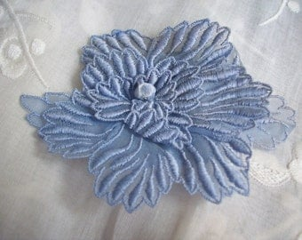 3 dimensional applique in lilac organdy