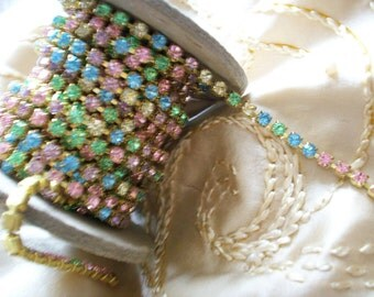 1 foot of vintage crystal in pastels rhinestone chain, more avail.