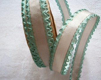 """1 yard of a rare silk 5/8"""" double lettuce edge with gold metal in 2 two-tone  for ribbonwork and dolls"""
