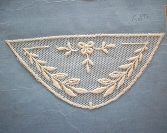 2 Antique  lace appliques embroidered net