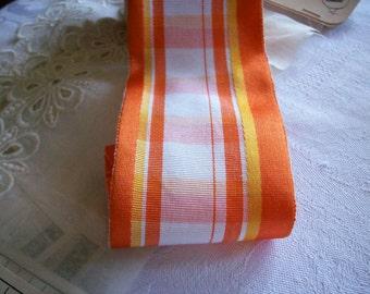 "1 yard of wonderful orange/gold/white striped vintage 2 1/2"" wide french ribbon,more"