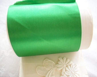 1 yd. of Jewel emerald silk satin 4 inch vintage ribbon, more avail.