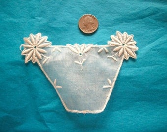 1 Antique lace applique of embroidered organdy flower basket
