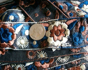 1 yard of a Hand loom embroidery deco period, more available