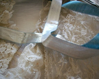 """1 yd. of silver drapey metal 3/4"""" ribbon with aqua back 1920s, luxury Christmas wrapping"""