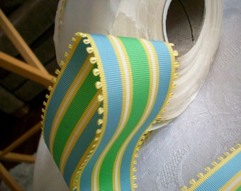 2 yds.of striped picot edge grosgrain in green/blue/gold, more avail.