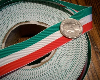 Vintage striped grosgrain in red, white, and green Italian Flag colors
