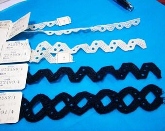 set of 4  Antique lace/trim salesman's sample