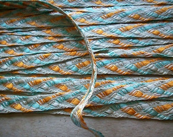 1 yd. of Superb vintage silk trim in great colors 1910s to 20s