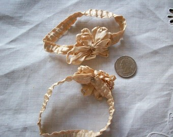 "antique silk garters perfect with hooks still intact for wearing only 9"" around"