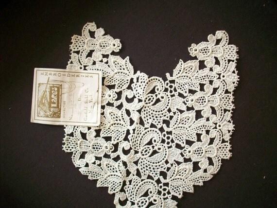 Antique salesman's sample of  venise  lace applique