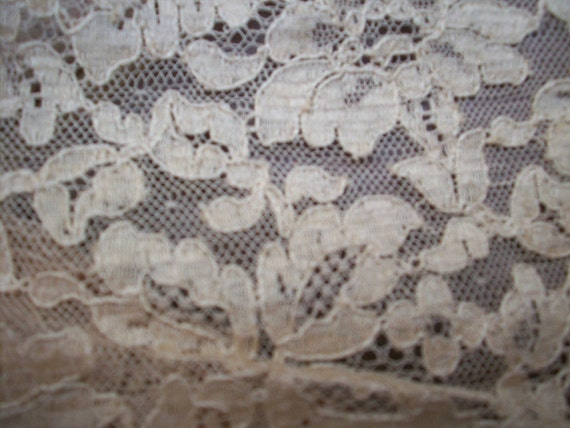 1 Antique french salesman's sample of  alencon lace in cafe au lait ,more avail.