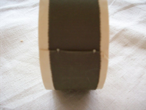 "about 3 yds. of petersham gray olive cotton/rayon vintage  1 1/8"" (149),more avail."