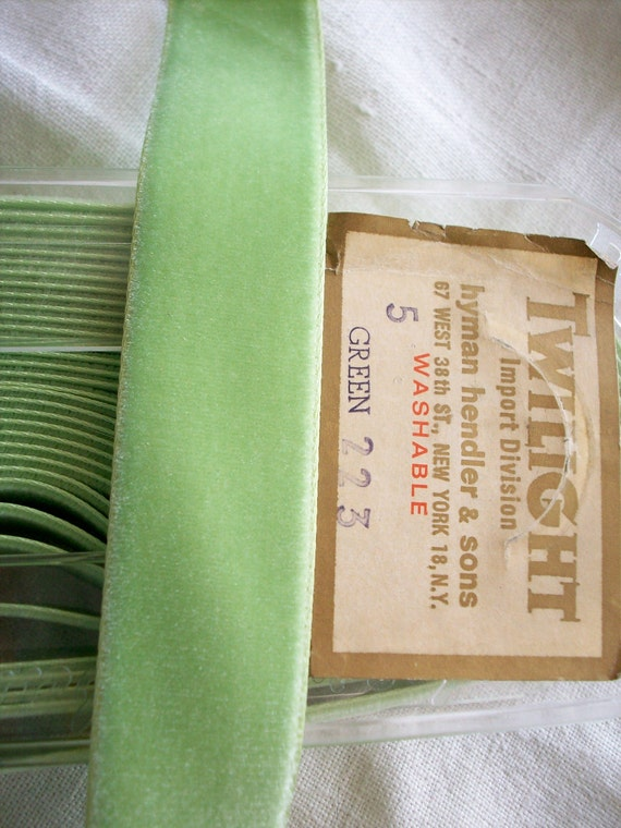 """custom listing 10 yards of vintage silky velvet ribbon in celery from Switzerland all rayon 7/8"""" wide twilight"""