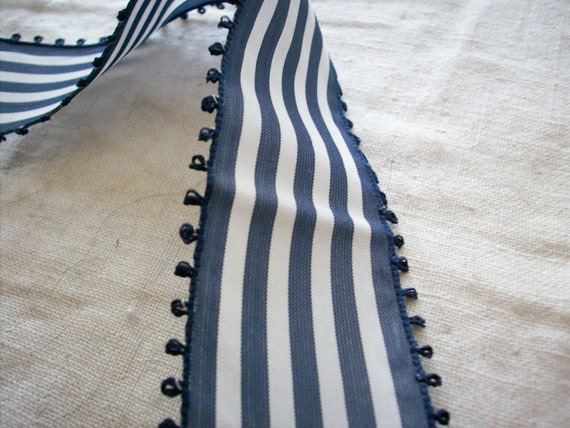 1 yd. of antique striped picot taffeta ribbon in marine blue and white, more avail.