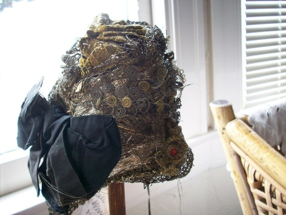 Antique french doll's hat made of metal trims and black silk ribbon