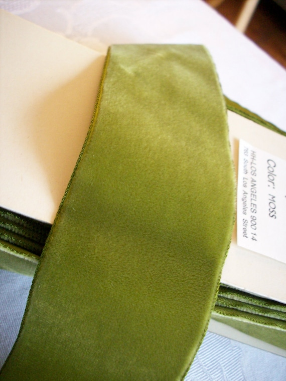 "3 yds.  of Vintage moss green 2"" wide velvet ribbon, more avail."