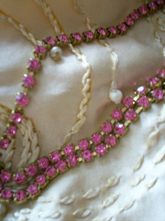 1 foot of vintage crystal shocking pink rhinestone chain, more avail.