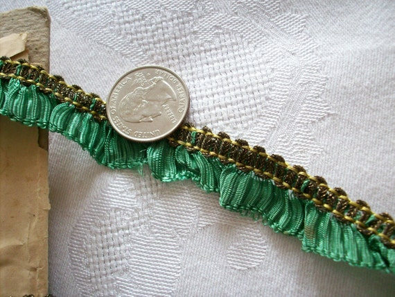 reserved for L. E. 5.25 yard of Emerald 1920s ruffled ribbon with gold metal edge