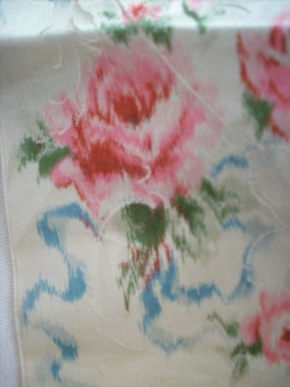 Antique watered silk ikat french ribbon with roses