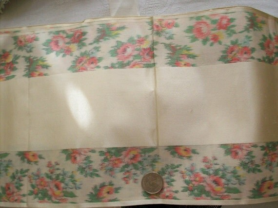 """48"""" perfect Antique watered silk ikat french ribbon with roses"""