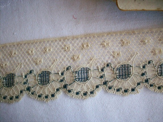 1 yard of Unusual two tone french cotton lace antique, more avail.