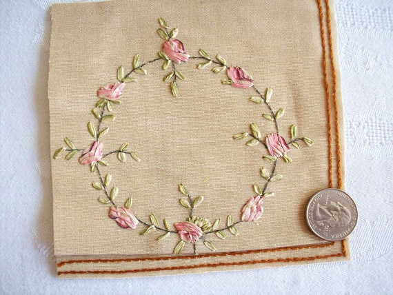 Antique silk ribbon embroidery on by textileartlace