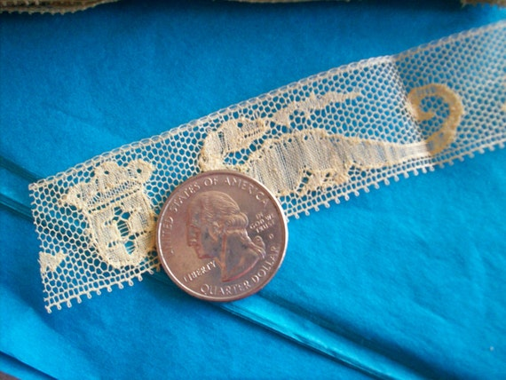 1 yd. of rare french picture museum binche lace, St. George and the dragon on ivory, more avail.