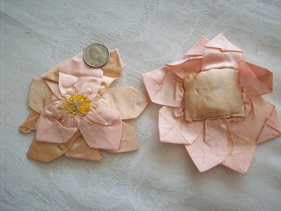 One Lovely antique ribbonwork pink silk rose with stamens