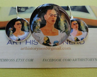 Frida Kahlo Self Portrait with Birds Sterling Silver plated Earring & Adjustable Ring Set