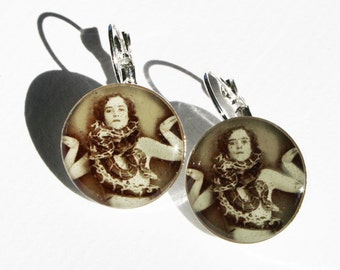 Snake Charmer Vintage Photo Earrings