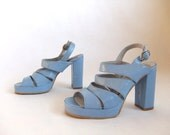 SALE...vintage 1970's blue patent leather platform shoes