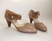 vintage POLLINI stone beige and snakeskin pumps heels, sz. 7.5
