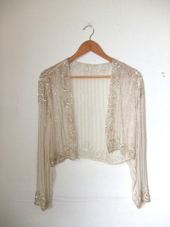 Sheer silk beaded bolero shrug cardigan