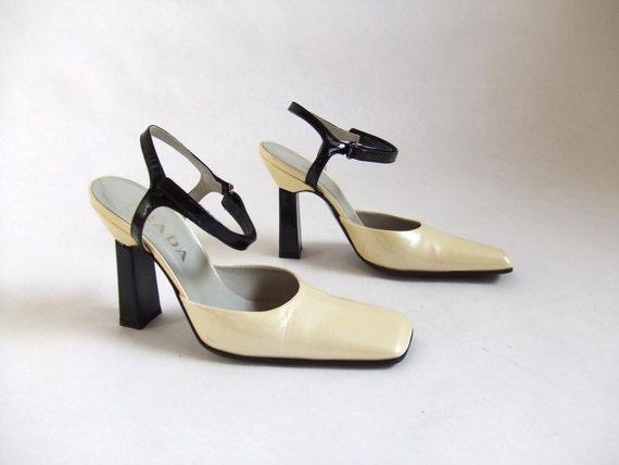 SALE...vintage PRADA black and cream patent leather heels, sz 6.5