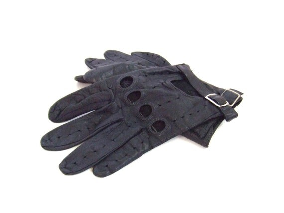 vintage 1980's navy leather motorcycle gloves