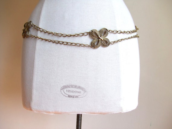 MOVING SALE////vintage 1970s brass metal belt with draping chains